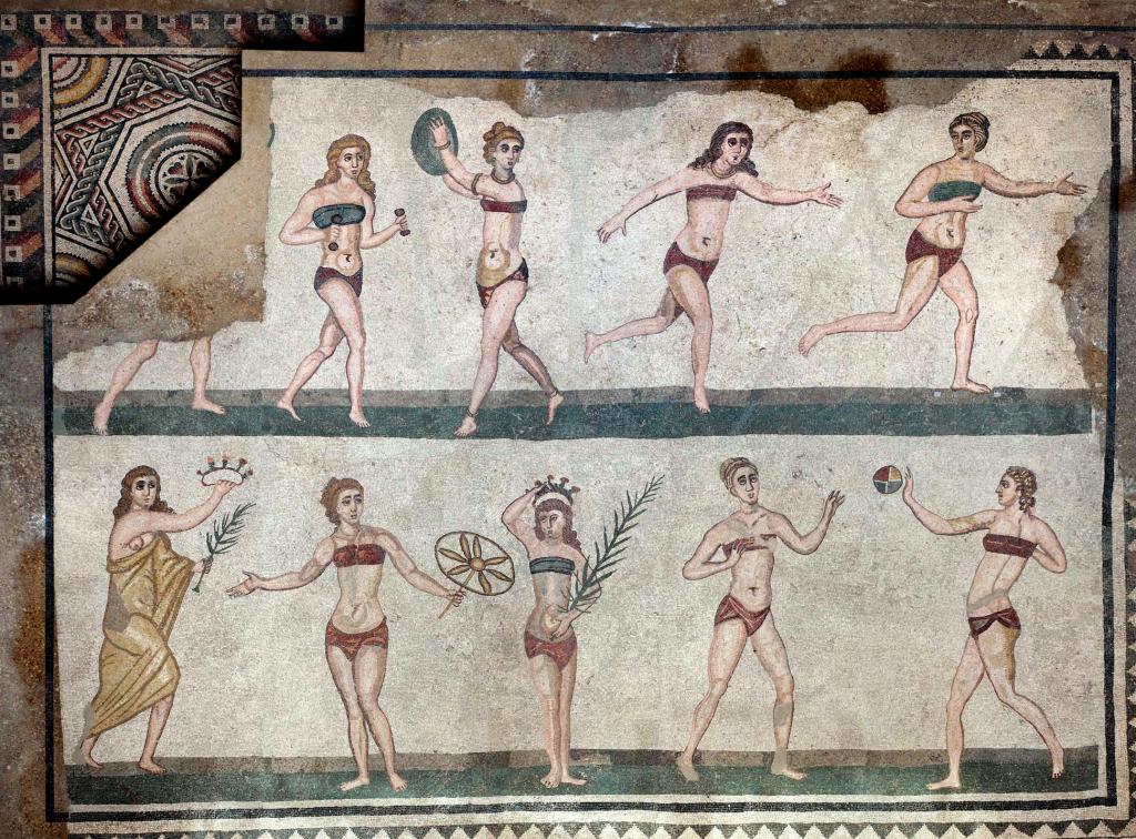 Affresco nella Villa romana del Casale
