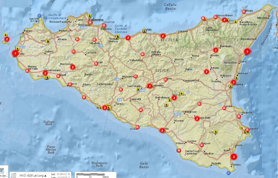 Webmap turistico-archeologica della Sicilia realizzata dal Lab Gis Osservatorio Turistico Regione Siciliana